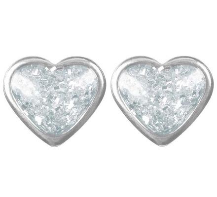 Örhänge - Hjärta glitter silver