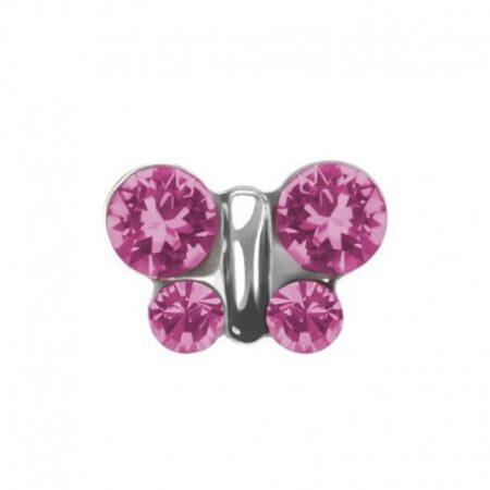 S2010WSTX Örhänge - Fjäril rosa 8mm