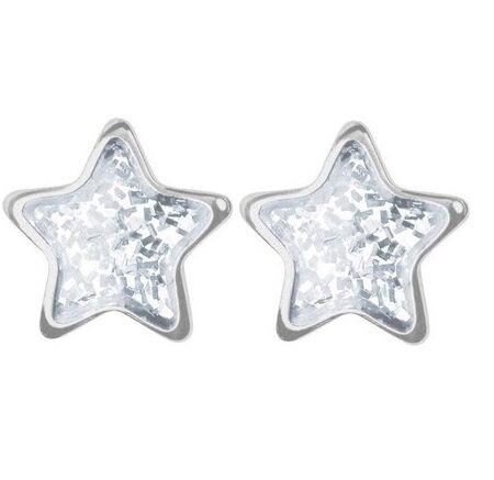 S3544WSTX11 Örhänge - Stjärna glitter silver 6mm