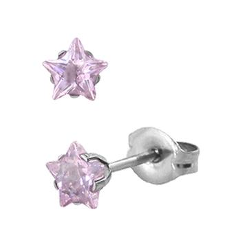 Örhänge - Stjärna rosa 5mm